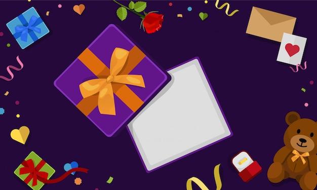 Öffnen sie die draufsicht der geschenkbox Premium Vektoren
