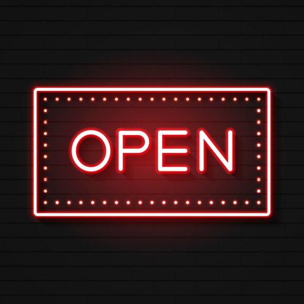 Öffnen sie die leuchtreklame. Premium Vektoren