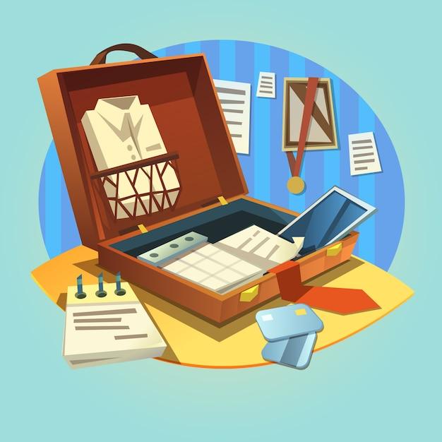 Öffnen sie geschäftsaktenkoffer mit retro- karikaturgeschäftsmannklage und arbeitsgegenständen Kostenlosen Vektoren