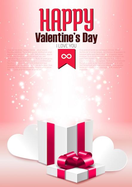 Öffnen sie geschenkbox mit glanz, romantische valentinstaggrußkartenschablone Premium Vektoren