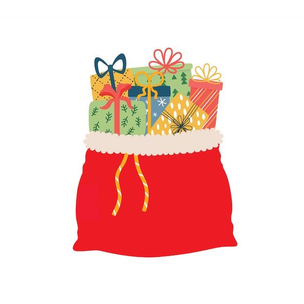 Öffnen sie rote tasche voll der weihnachtsgeschenkillustration Premium Vektoren