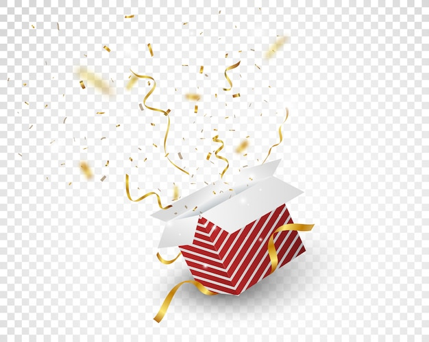 Öffnen sie rotes kästchen mit goldener konfetti-explosion Premium Vektoren