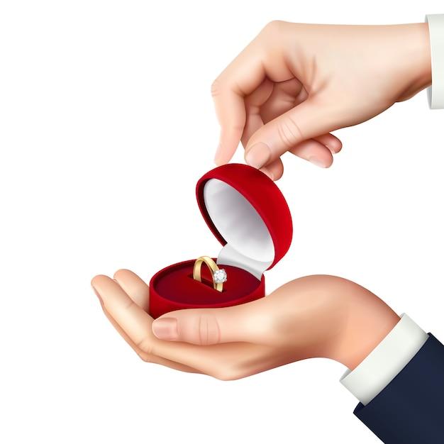 Öffnen sie schmuckschatulle mit verlobungsring in der hand realistische zusammensetzung für heiratsantrag vorhanden Kostenlosen Vektoren