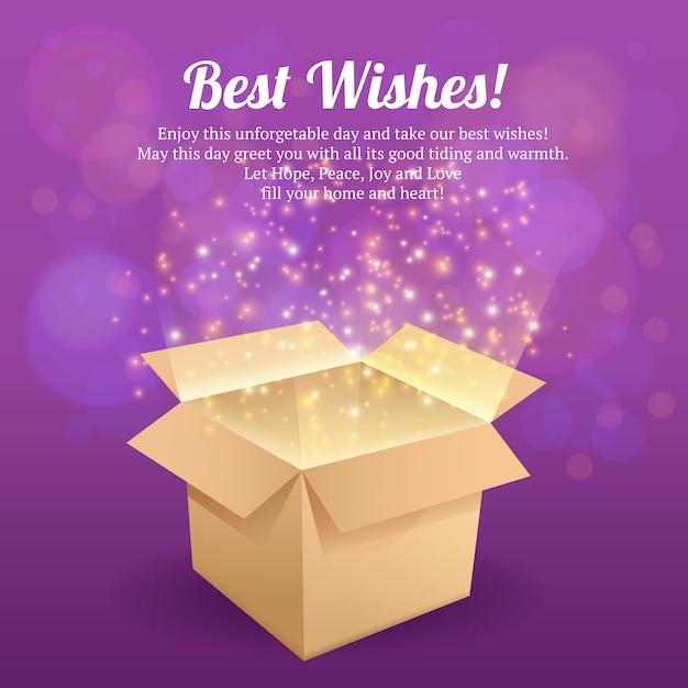 Öffnen sie vektorillustration der besten wünsche der kartongeschenkbox Premium Vektoren