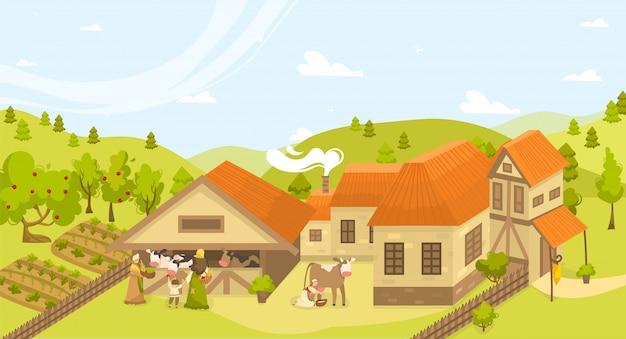Öko gebäude landwirtschaft landwirtschaft ländliche landschaft illustration mit bauernhof, kühe stall, garten, betten von bio-gemüse. Premium Vektoren