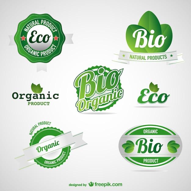 Öko grüne etiketten von lebensmitteln festgelegt Kostenlosen Vektoren