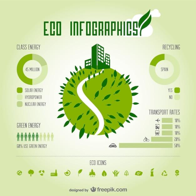 Öko grüne infografie vektor Kostenlosen Vektoren