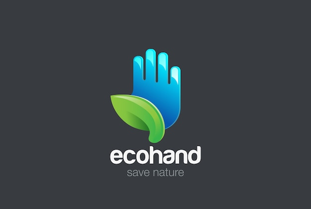 Öko-hand mit grünem blatt-logo Premium Vektoren