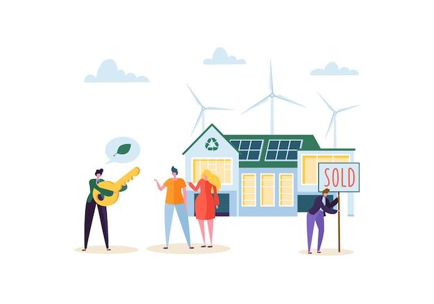 Öko-haus-konzept mit glücklichen leuten, die neues haus kaufen. immobilienmakler mit kunden und schlüssel. ökologie grüne energie, solar- und windkraft. Premium Vektoren