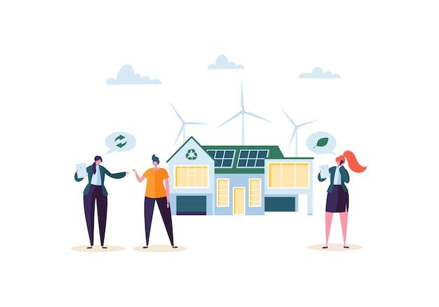 Öko-haus-konzept mit immobilienmakler, der den kunden modernes haus präsentiert. ökologie grüne energie, solar- und windkraft. Premium Vektoren