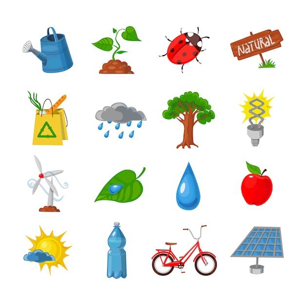 Öko-icons gesetzt Kostenlosen Vektoren