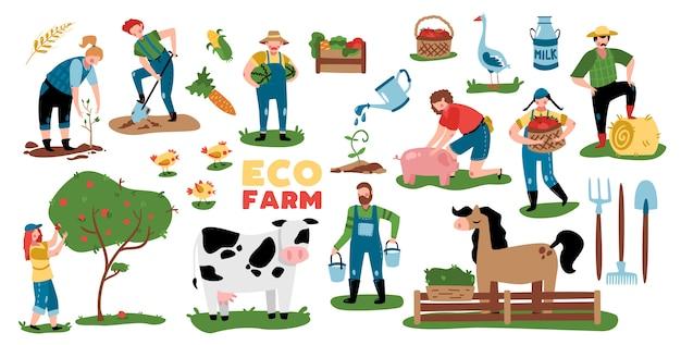 Öko-landwirtschaftssatz von isolierten bildern mit pflanzen-nutztierausrüstung und gekritzelzeichen der vektorillustration der leute Kostenlosen Vektoren
