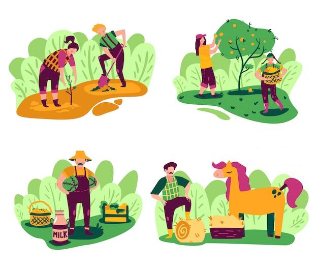 Öko-landwirtschaftszusammensetzungen, die mit landschaftslandschaft und arbeitenden personencharakteren mit inländischen produkten und pflanzenvektorillustration gesetzt werden Kostenlosen Vektoren