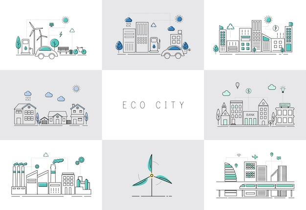 Öko-stadt-set Kostenlosen Vektoren