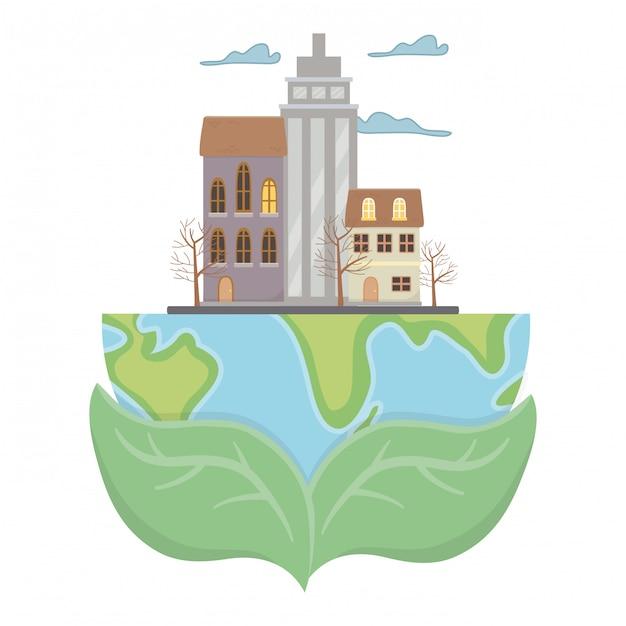 Öko-stadt und rette den planeten Kostenlosen Vektoren