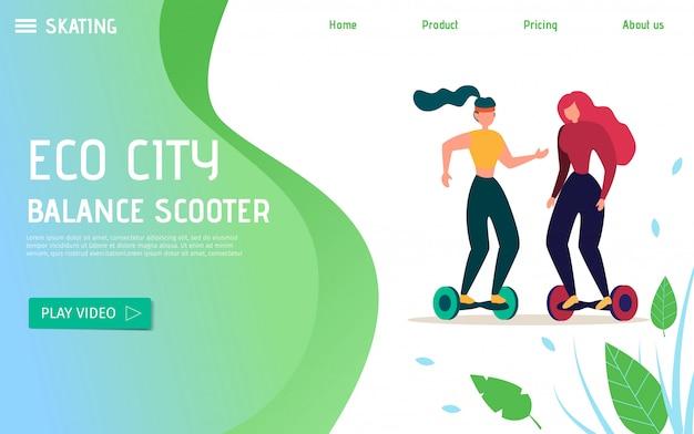 Öko-transport für stadtverkehr und freizeitförderung Premium Vektoren