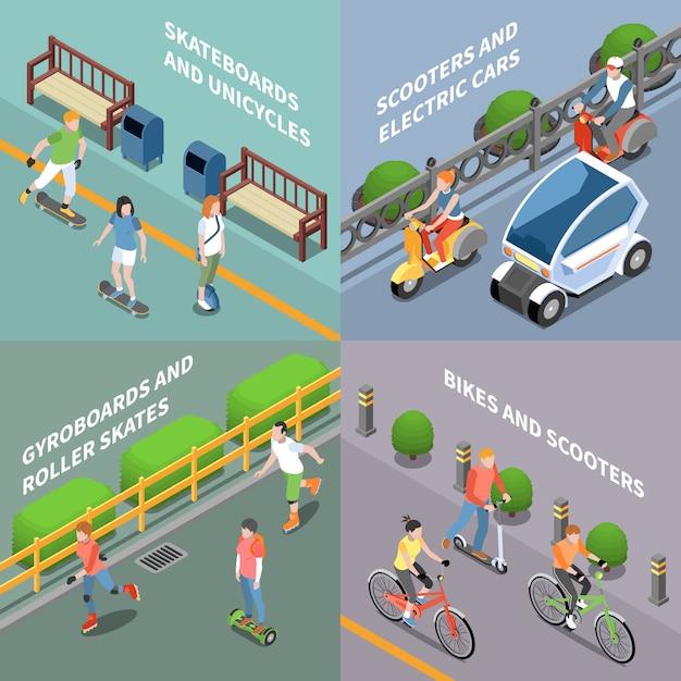 Öko-transportkonzeptikonen, die mit fahrrad- und roller isometrisch isoliert eingestellt werden Kostenlosen Vektoren