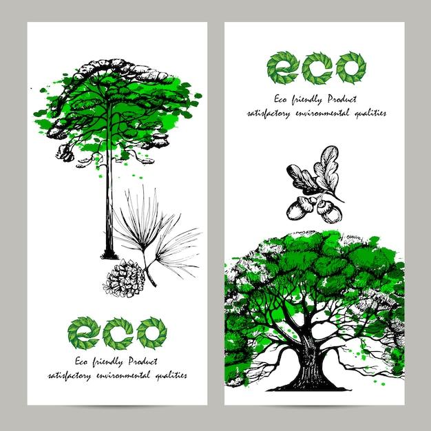 Ökologie-banner-set Kostenlosen Vektoren