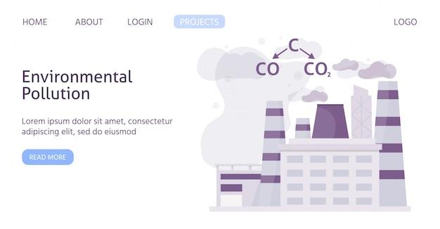 Ökologie der verschmutzten industriestadt mit chemischer formel der flachen luftschablonenillustration der luftverschmutzung. Premium Vektoren