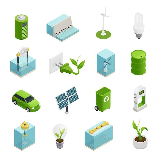 Ökologie-energie-isometrische ikonen eingestellt Kostenlosen Vektoren