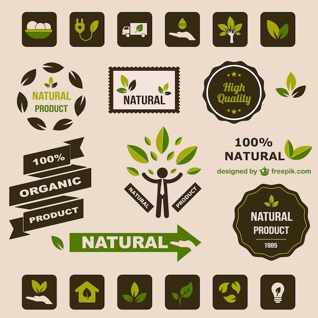 Ökologie flach retro grafische elemente Kostenlosen Vektoren