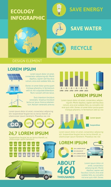 Ökologie flache infografiken Kostenlosen Vektoren