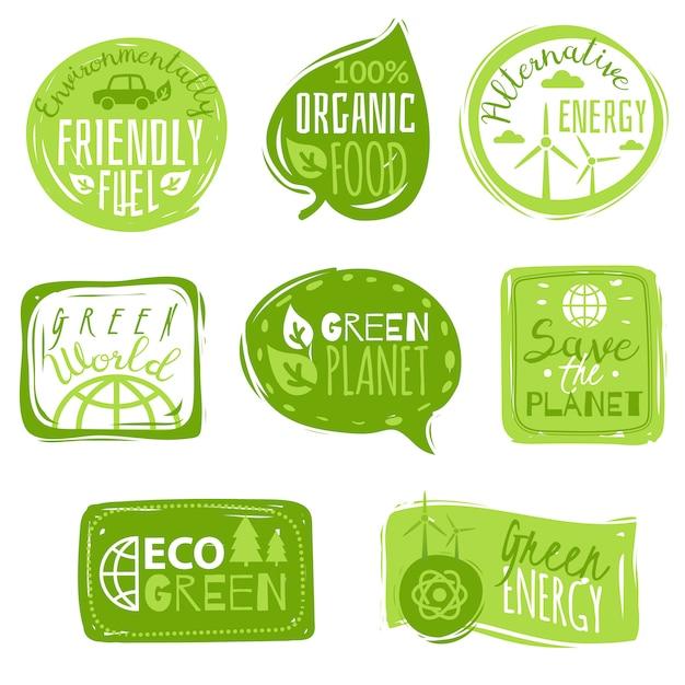 Ökologie flache symbol embleme festgelegt Premium Vektoren