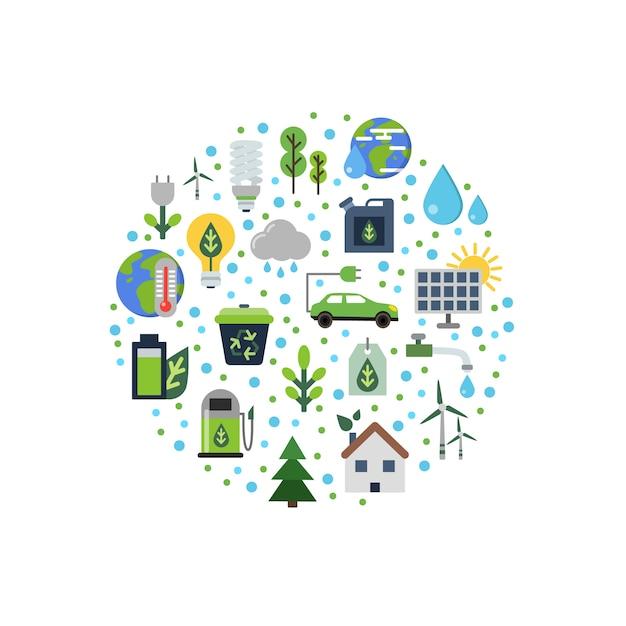 Ökologie flache symbole im kreis gesammelt Premium Vektoren
