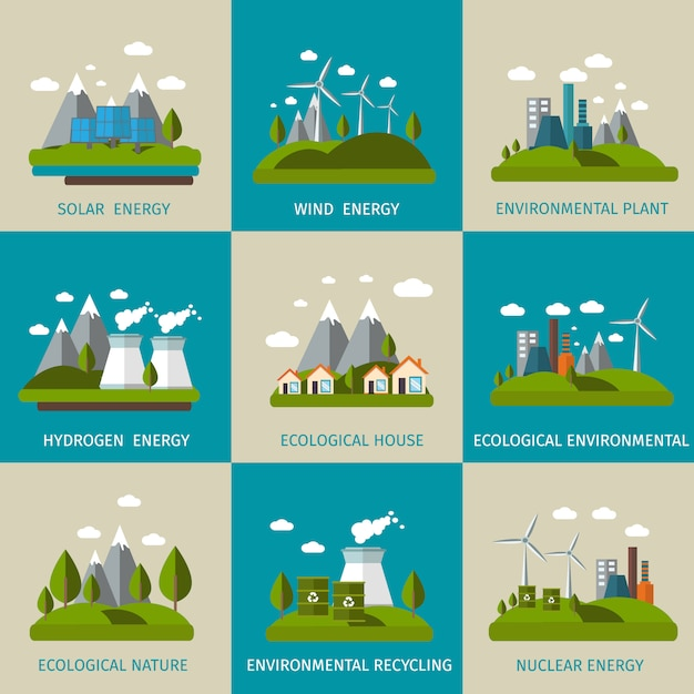 Ökologie flat set Kostenlosen Vektoren