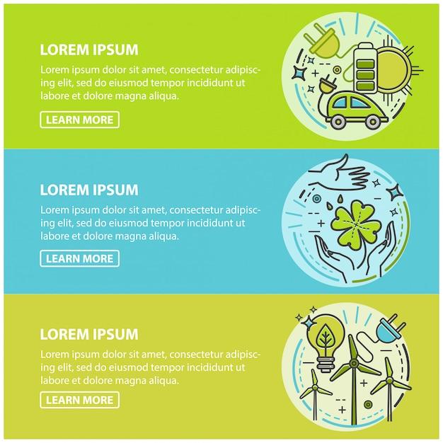 Ökologie, grüne technologie, bio, bio. cartoon banner set Premium Vektoren