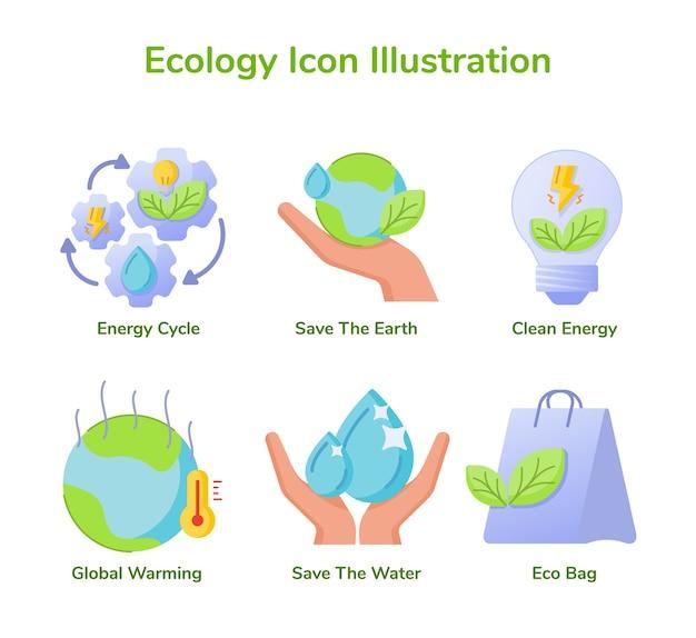 Ökologie icon set sammlung energiekreislauf sparen erde saubere energie globale erwärmung Premium Vektoren