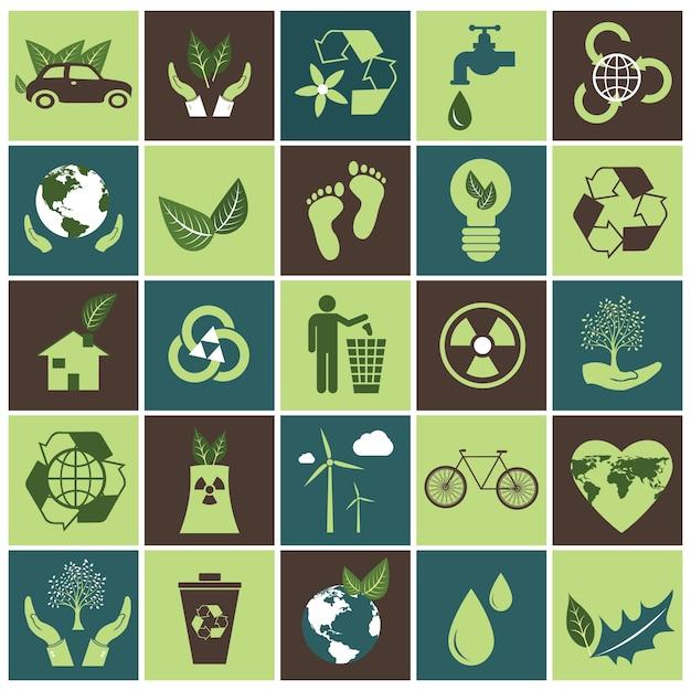 Ökologie icon-set Kostenlosen Vektoren