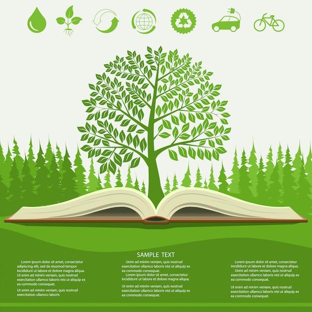 Ökologie infografiken mit grünen baum und aufgeschlagenes buch Premium Vektoren