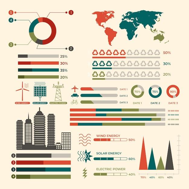 Ökologie infographic mit retro- farben im flachen design Kostenlosen Vektoren