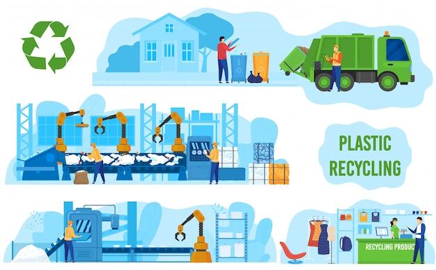 Ökologie, null-abfall-industrie, fabrikverarbeitung und recycling von kunststoffillustrationen. umwelt und ökologie, grüne technologie. Premium Vektoren