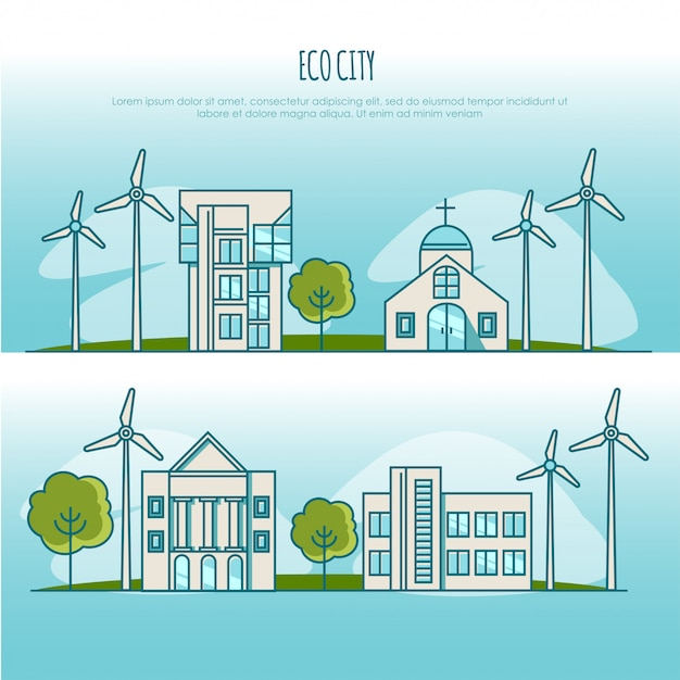 Ökologie stadtlandschaften. alternative energie. illustrationskonzept Premium Vektoren