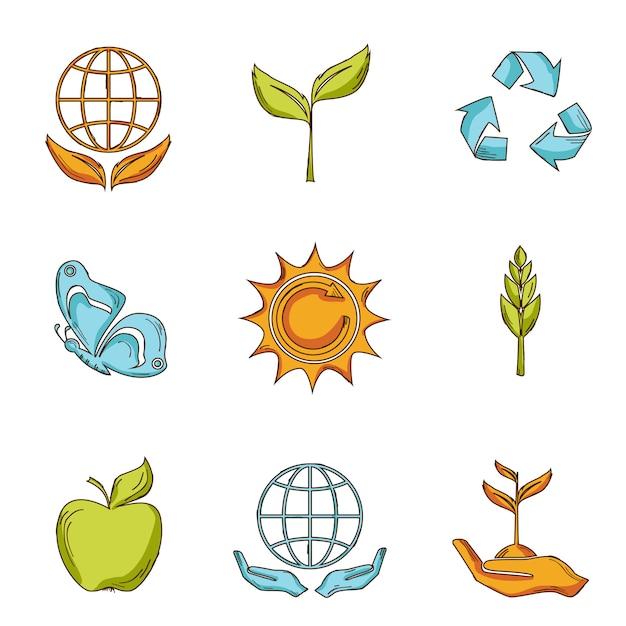 Ökologie- und abfallikonen stellten skizze ein Premium Vektoren