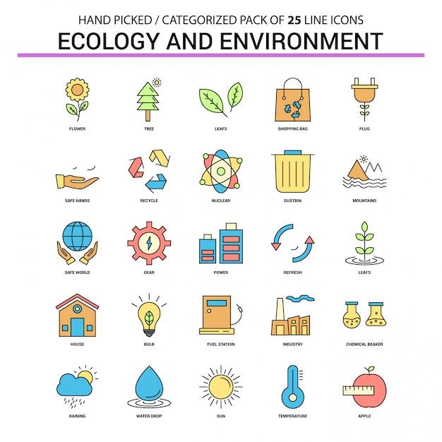 Ökologie und umwelt flache linie ikone eingestellt - geschäftskonzept-ikonen-design Kostenlosen Vektoren