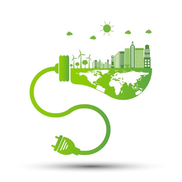 Ökologie und umweltkonzept, erdsymbol mit grünen blättern um städte helfen der welt mit umweltfreundlichen ideen, vektor-illustration Premium Vektoren