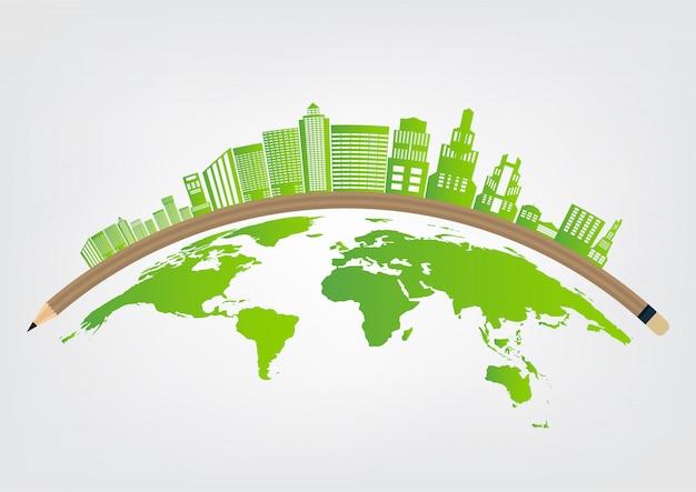 Ökologie und umweltkonzept, erdsymbol mit grünen blättern um städte Premium Vektoren