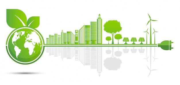 Ökologie und umweltkonzept, erdsymbol mit grünen blättern Premium Vektoren