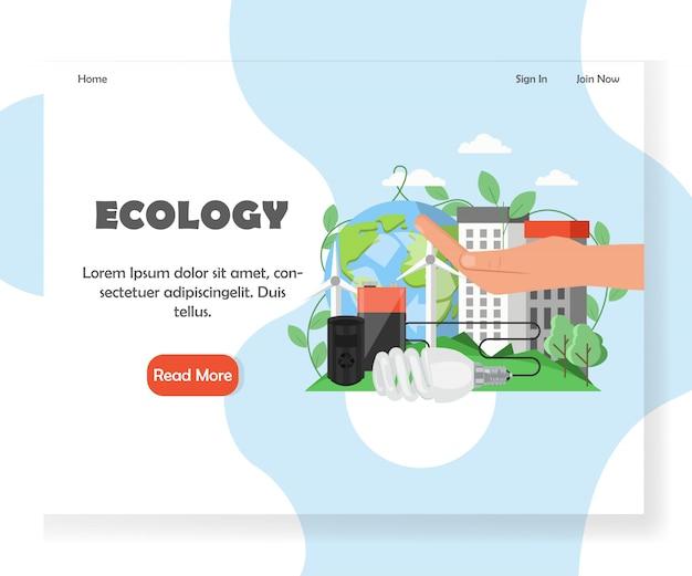 Ökologie-website-landingpage-vorlage Premium Vektoren