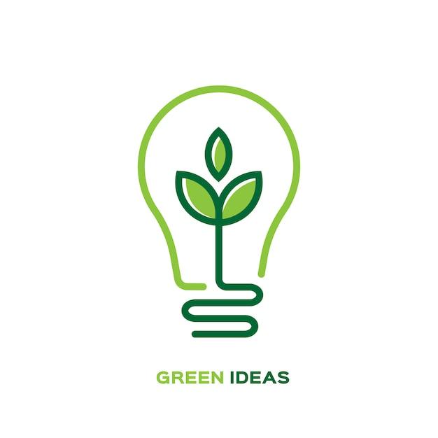 Ökologiebirnenlampe mit blattlogo Premium Vektoren