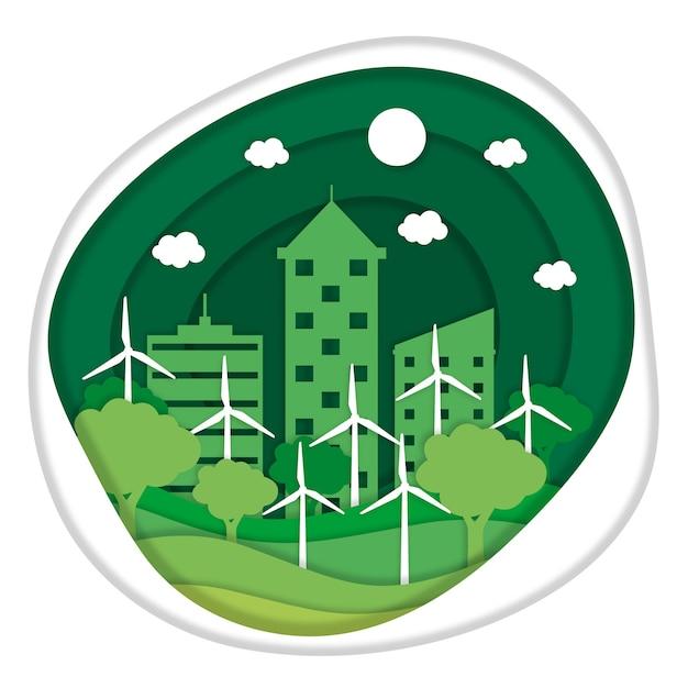 Ökologiekonzept in der papierart Kostenlosen Vektoren