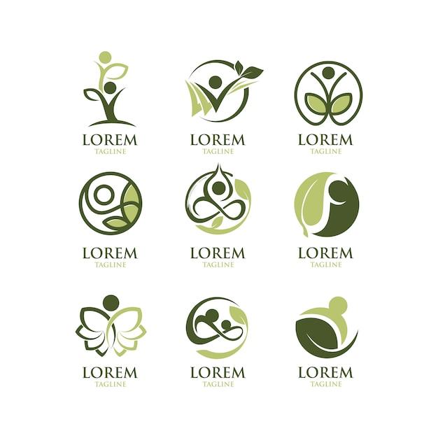 Ökologische logosammlung Kostenlosen Vektoren