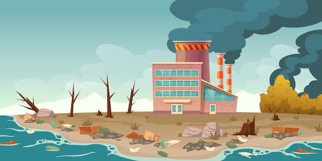 Ökologische verschmutzung, rauchende fabrikrohre Kostenlosen Vektoren