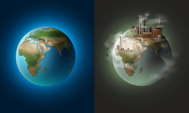 Ökologischer sauberer planet des vektorillustrationskonzepts gegen umweltverschmutzung Kostenlosen Vektoren