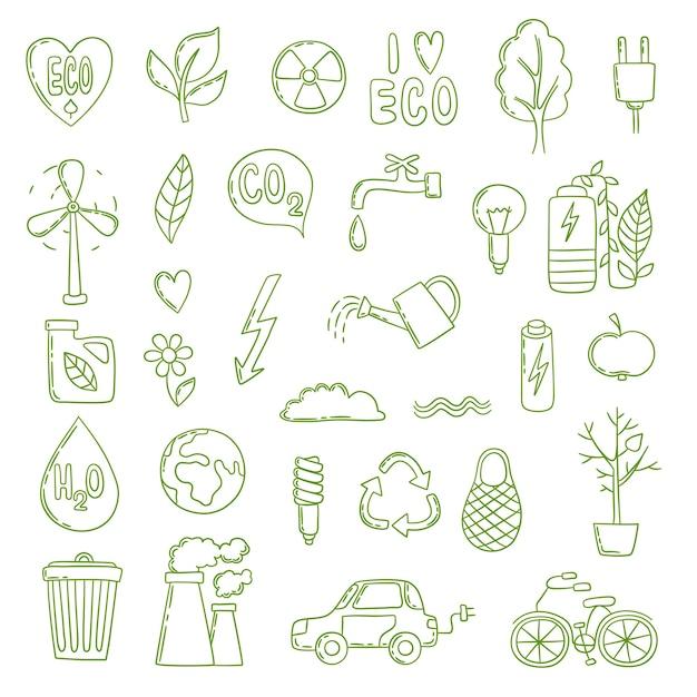 Ökologisches gekritzel. grüne energie konzept bilder sammlung saubere umwelt sparen luft bio-co2-pflanzenwachstum. öko-recycling, sparen sie grüne energie illustration Premium Vektoren