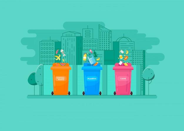 Ökologisches konzept - müllsortierung in die farbigen behälter Premium Vektoren
