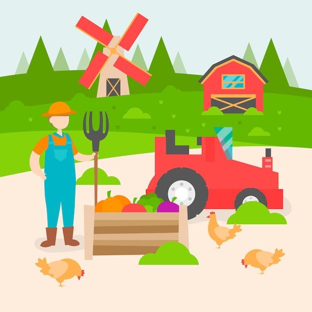 Ökologisches landbaukonzept mit landwirt Kostenlosen Vektoren